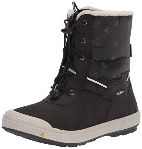 KEEN Kelsa Tall Wp Snow Boot, Black/Tibetan Red, 5 US Unisex Big Kid