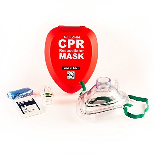 WNL Products CPR Rescue Mask, Adult/Child Pocket Resuscitator, Hard Case Kit with Belt Clip, 2 Pack