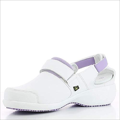 Oxypas Move Up Salma Slip-resistant, Antistatic Nursing Shoes, White/Purple (Liliac), 5 UK (38 EU)