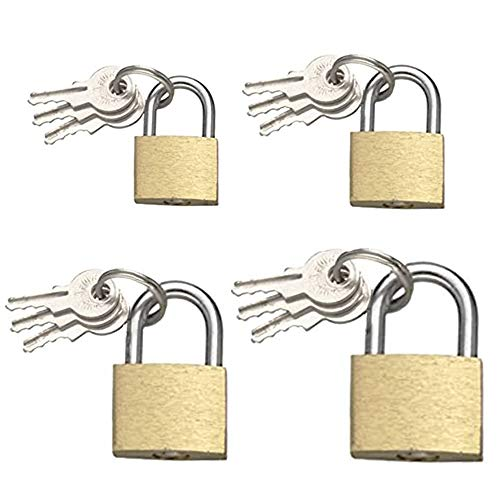 4 Pieces Padlock,Brass Luggage Lock, Brass Lock,Brass Padlock with Keys for Toolboxes,Gate,Household,Cabinet,Lockers,Cupboards,Home,Work,20mm/25mm/30mm/40mm(Pattern Random)
