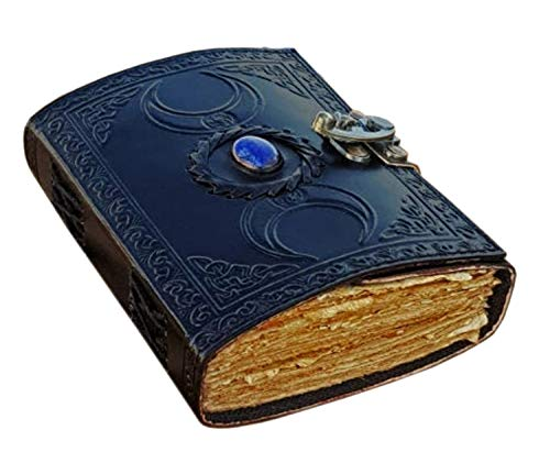 vintage journals grimoire celtic witch stone leather book of shadows journal blank spell notebook black the triple moon uncharted merchandise deckle edge paper wiccan sketchbook for women 7x5 inch (7 x 5)