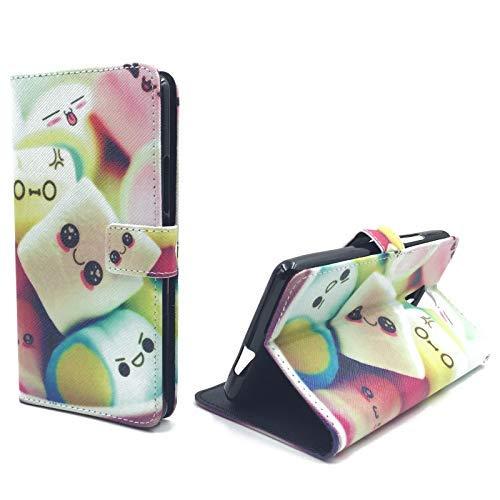 König Design Handyhülle Kompatibel mit Wiko Robby Handytasche Schutzhülle Tasche Flip Case mit Kreditkartenfächern - Marshmallows