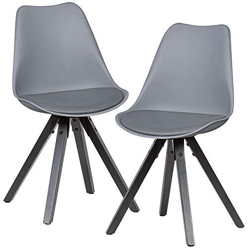 FineBuy Sedie per Sala da Pranzo Grigio Set di 2 Plastica/Legno Scandinavo Sedie | Sedie da Cucina Imbottito Retró | Sala da Pranzo
