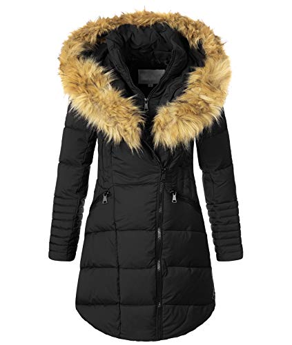 Rock Creek Damen Winter Jacke Mantel Kunstfellkragen Steppmantel Winterjacke Damenjacke Outdoorjacke Kapuze Fellkragen gesteppt D-434 Schwarz M