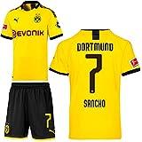 PUMA Borussia Dortmund BVB Heimset 2019 2020 Home Kit Trikot Shorts Kinder Jadon Malik Sancho 7 Gr 164