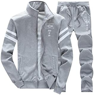 Minibee Men's Tracksuit Set 2 Piece Full Zip Athletic Sweatsuit Outfit Running Jogging Sport Jacket and Pants Set