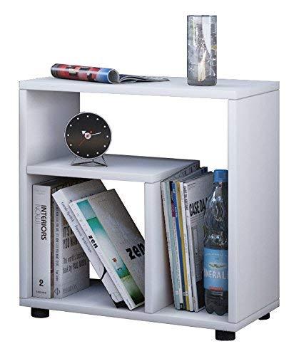 VCM Beistelltisch Sofa Tisch Nachttisch Kaffeetisch Nachtkonsole Couchtisch Wohnzimmertisch Weiß 55 x 50 x 30 cm