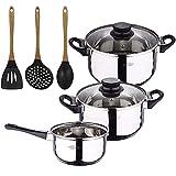 Bateria de cocina 5 piezas San Ignacio de acero inoxidable con set de 3 utensilios de cocina en silicona Foodies