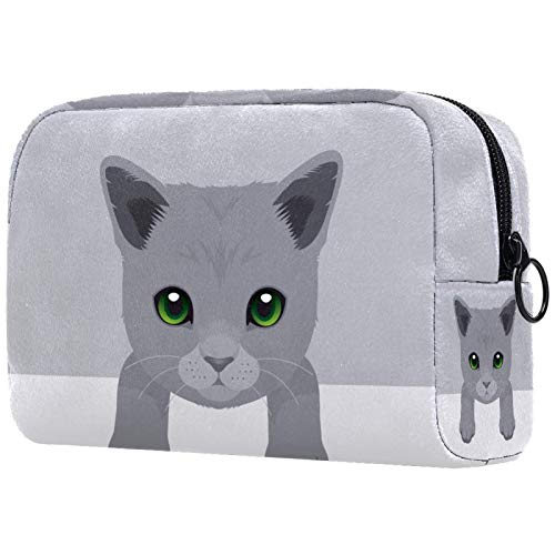 Makeup Bag Travel Cosmetic Bag Pouch Purse Handbag with Zipper - Lovely Cartoon Gray Cat