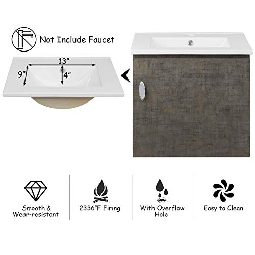 Tangkula Wall-Mounted Bathroom Vanity Set, Modern Bathroom Vanity Sink Set, Storage Cabinet Combinations with Mirror Door, Mirror Cabinet & Side Storage Rack & Main Cabinet (Grey)(Faucet Not Included)