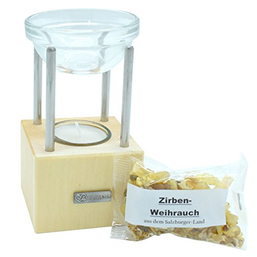 4betterdays Duftlampe aus Zirbenholz Inklusive 25 gr Weihrauch - Echte Handarbeit aus Österreich