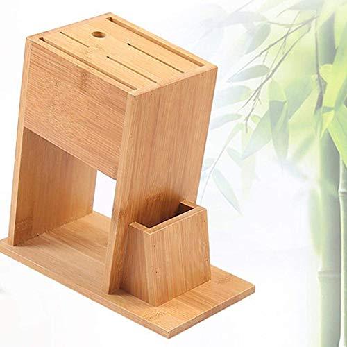 LCZ Bamboo Porte-Couteau de Cuisine de Porte-Couteau fournit des Blocs de Couteau Multifonctions Rack de Stockage d'outils de Couteau Stockage Couverts sans Bloc Coupe Bois Unpopulated