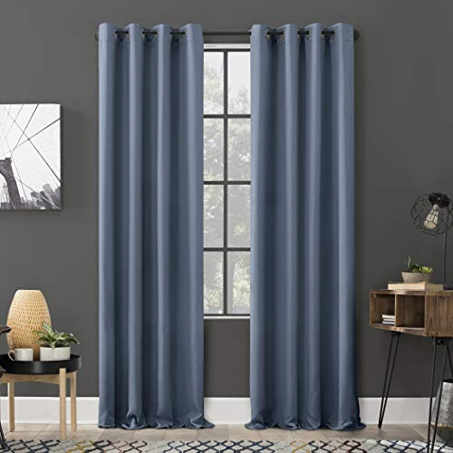 "Sun Zero Soho 2-Pack Energy Efficient Blackout Grommet Curtain Panel Pair, 54"" x 84"", Denim Blue"