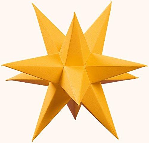 Marienberger Adventssterne 3-Sterne-Set aus Papier, elektrisch beleuchtet, inklusive Elektrik gold, Ø 15cm NEU Papierstern