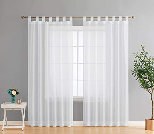 HLC.ME Addison Semi Sheer Light Filtering Transparent Tab Top Lightweight Floor Length Window Curtains Drapery Panels for Bedroom & Living Room, 2 Panels (54 x 84 Inch, White)