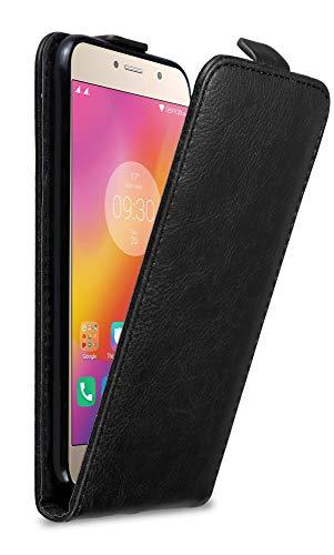 Cadorabo Hülle für Lenovo P2 in Nacht SCHWARZ - Handyhülle im Flip Design mit Magnetverschluss - Hülle Cover Schutzhülle Etui Tasche Book Klapp Style