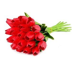 Silk Flower Arrangements HoveBeaty Artificial Tulips Bridal Wedding Festival Decor Bouquet Real Touch PU Flower Bouquet Pack of 20