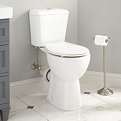 Signature Hardware 941034 Elkinson 1.6/0.8 GPF Two Piece Round Chair Height Toilet with Rear Outlet - Seat Included