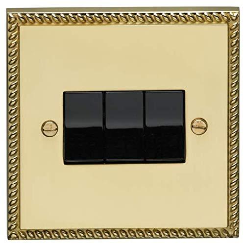 Eurolite G3SW B 3 Gang 10A - Interruptor de 2 vías, latón georgiano, inserto negro