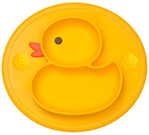 Qshare Toddler Plates, One-Piece Baby Plate for Toddlers and Kids, BPA-Free Strong Suction Plates for Toddlers, Dishwasher and Microwave Safe Silicone Placemat