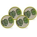 BIOZOYG Set Platos Planos bambú orgánico con Motivo Leafs I Set 4to Platos Redondos Ø25,5cm I Vajilla Melamina Ecológica de bambú Set Camping Platos Melamina de bambú Plato Colorido para Pastel