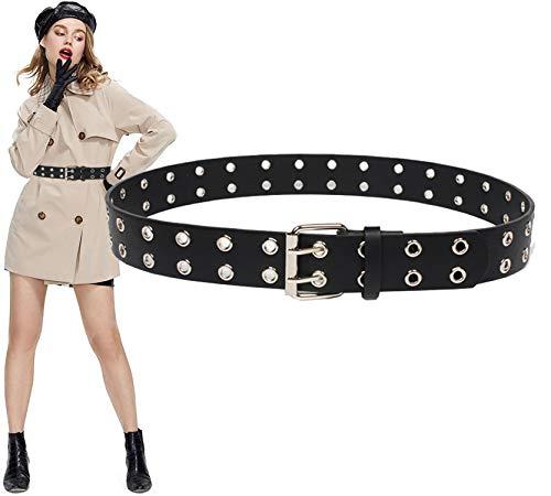 Longwu Cinturón negro de moda para mujer, cinturón con remaches, cintura ultra ancha, cinturón cruzado, cinturón de abrigo para fiesta punk