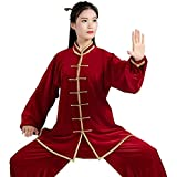 HZWDD Ropa de Tai Chi Mujeres Hombres Otoño e Invierno Terciopelo Trajes de Tai Chi Artes Marciales Shaolin Kung Fu Traje de Taekwondo Gimnasia matutina Uniforme de Tai Chi