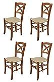 Tommychairs - Set 4 sillas Cross para Cocina y Comedor, Estructura en Madera de Haya Color Nuez Claro y Asiento tapizado en Tejido Color cáñamo