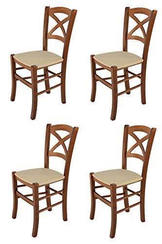 Tommychairs - Set 4 sillas Cross para Cocina y Comedor, Estructura en Madera de Haya Color Nuez Clar