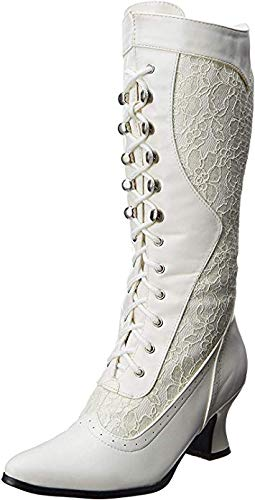Ellie Shoes Women's 2 1/2 Inch Heel Boot with Lace (White;7)