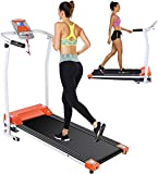 Folding Treadmill Electric Treadmills for Home with LCD Monitor,Pulse Grip and Safe Key Running Walking Jogging Exercise Fitness Machine for Home Gym Office Space Saver Easy Assembly (Dark Orange)