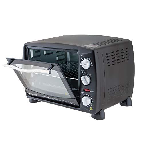 H.Koenig Mini Horno Eléctrico de Sobremesa, 18 litros, 1500 W, Temporizador hasta 60 min, 3 Modos cocción, Temperatura hasta 230 °C, Acero, Negro FO18, 1300 Inoxidable, plástico