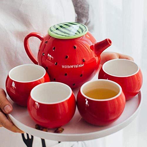 XBR Juegos de té creativos, Tetera con colador Juego de Botellas de Agua fría hogar Sala de Estar Juego de cerámica de Hueso Taza de Agua Juego de té de Frutas heat6pcs