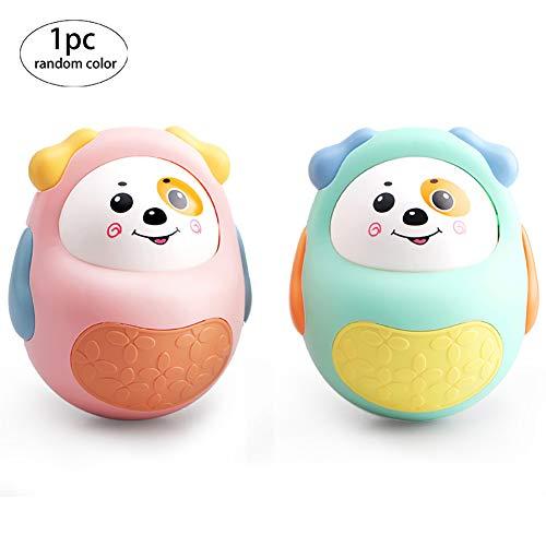 1pc aspecto lindo perro Tumbler Tentetieso juguete Vaso Con campana en el interior infantil del bebé del juguete temprano del desarrollo de vaso para el bebé, color al azar