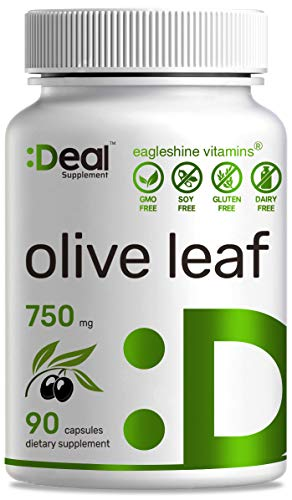 Deal Supplement Olive Leaf Extract 750mg, 90 Capsules, Standardized to 20% Oleuropein- Boost Immune System and Support Cardiovascular Health, Natural Antioxidant Supplement