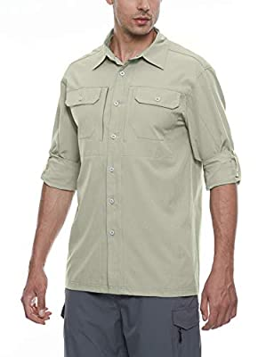Little Donkey Andy Men's Stretch Quick Dry Water Resistant Outdoor Shirts UPF50+ for Hiking, Travel, Camping Khaki Size M