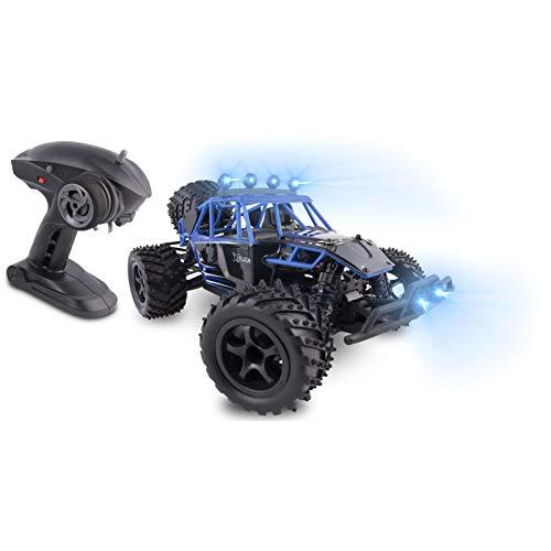 Overmax X-Flash ferngesteuertes Auto RC Auto Reichweite von 100 Meter Geschwindigkeit bis zu 45 km h Allradantrieb Ölstoßdämpfer verstärkte Konstruktion Beleuchtung, Schwarz-Blau