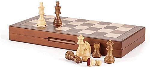 Schachspielspiele l Adults Kids Board Chess Klassisches Schachspiel, Brettspielset mit hölzernem Schachbrett & Stücke für Erwachsene Kinder, 15,7