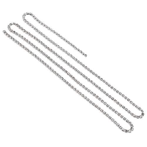 Cadena de decoración de vidrio, decoración de materiales de vidrio de alta calidad brillante(White diamonds on silver (closed chain), SS16 4mm)