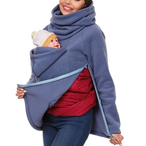 Designs Canguro con Capucha Mujer Camisa Multifunción Canguro Invierno Mujer Embarazada Maternidad Sudadera con Capucha Canguro Portabebés Chaqueta Outwear Otoño Invierno,Blue-XL