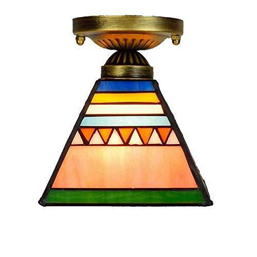 BDHBB 6-Zoll-Deckenleuchten, Deckenleuchte im Tiffany-Stil für halbbündige Montage mit Glasmalerei-Pyramidenlampe, Retro-Wohnzimmer-Deko-Leuchte E27