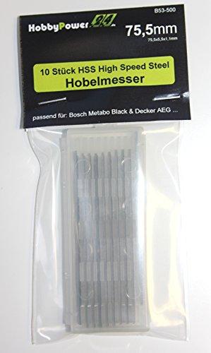 10 Stück HSS HIGH SPEED STEEL Wendemesser / Hobelmesser 75,5x5,5x1,1 mm für AEG / B&D / Bosch / Festo / Haffner / HolzHer / Kress / Mafell / Metabo / Sheer / Skil