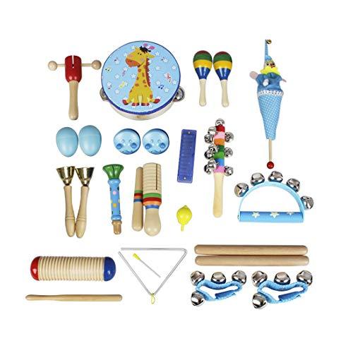 Edmend Baby-Musikinstrumente 22pcs Kleinkind-Musik-Spielzeug-Set Bildung Percussion Spielzeug-Geschenk for Kinder, Jungen, Mädchen Musikinstrument für Kinder (Color : Blue)