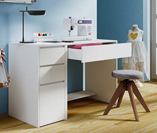 VCM Nähmaschinentisch Nähschrank Nähtischchen Sekretär Schreibtisch Nitola Weiß Set: Tisch + Beistellmöbel