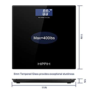 Body Weight Scale for People, HIPPIH Battery-Powered Black Bathroom Scale with Step-On Technology & Large Blacklit Display, Portable 11x11 in Digital Scales with High Accuracy, 400 Pounds Max