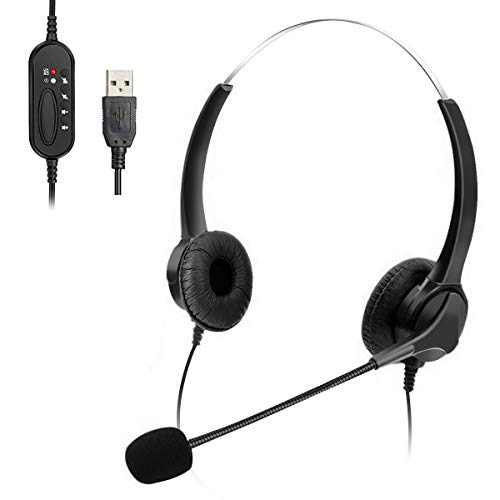 Elikliv T601 USB Headset with Microphone Call Center Headsets 2M Length PC Headset Headband Computer...