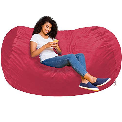 Amazon Basics Memory Foam Filled Bean Bag Lounger with Microfiber Cover - 6', Pink