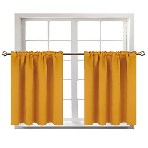 BGment Small Window Room Darkening Curtains for Kitchen- Thermal Insulated Tier Valance Curtain for Bedroom, 42 x 36 Inch, 2 Panels, Mustard
