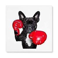 アートパネル ボクシング フレンチブルドッグ 犬 ワンチャン アートフレーム キャンバスアート パネル ポスター モダン インテリアアート 額縁なし 絵 壁飾り 壁掛け キャンバス絵画 フレーム装飾画 木製の枠 新築飾り 贈り物 40x40cm