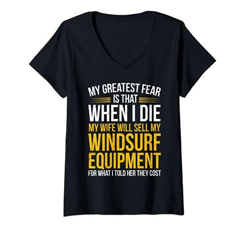 Mujer Equipo de Windsurf - Windsurfer Camiseta Cuello V